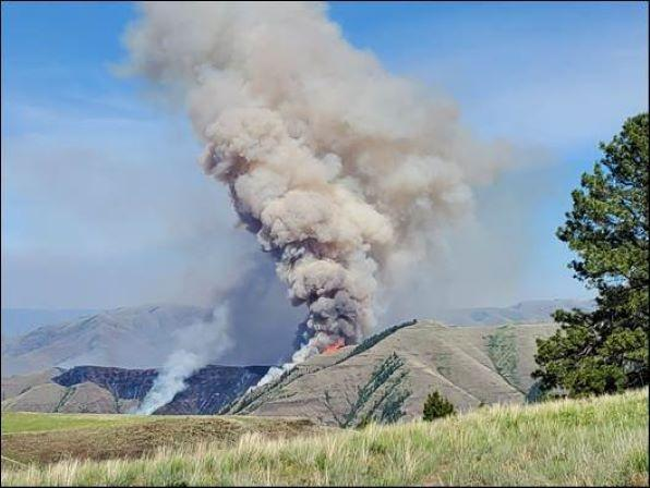 Two Fires Sparked By Lightning Near Washington/Oregon Border Grow to Estimated 2,300 Acres; Third Fire Also Burning Southeast of Lewiston